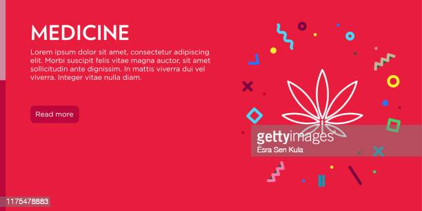 medicine concept. geometric pop art and retro style web banner and poster concept with marijuana icon. - marijuana leaf text symbol stock illustrations, clip art, cartoons, & icons