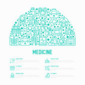 Medicine concept in half circle with thin line icons: doctor, ambulance, stethoscope, microscope, thermometer, hospital, z-ray image, MRI scanner. Modern vector illustration for medical survey.