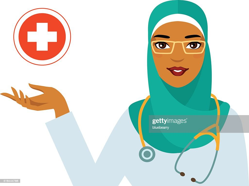 Medicine concept - muslim arabic woman doctor on white background