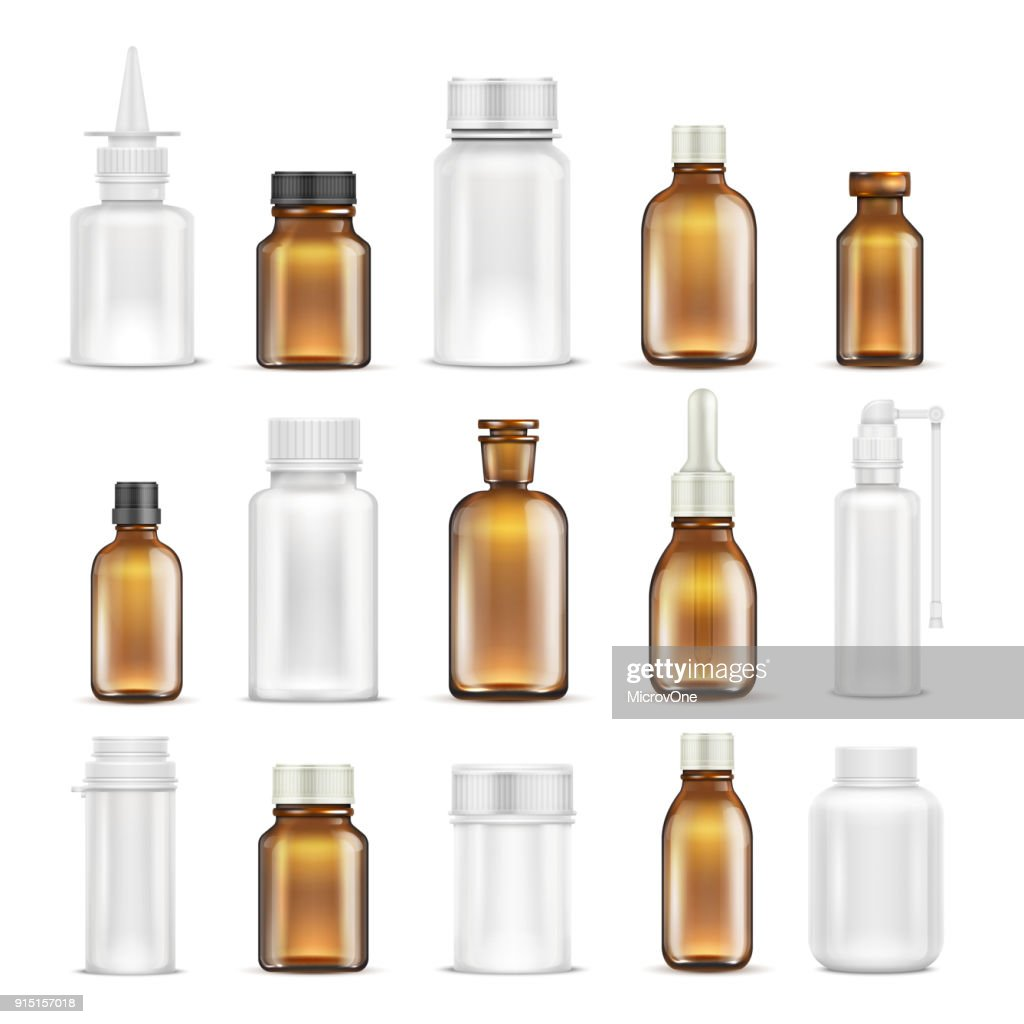 Medicine glass and plastic blank bottles isolated vector set