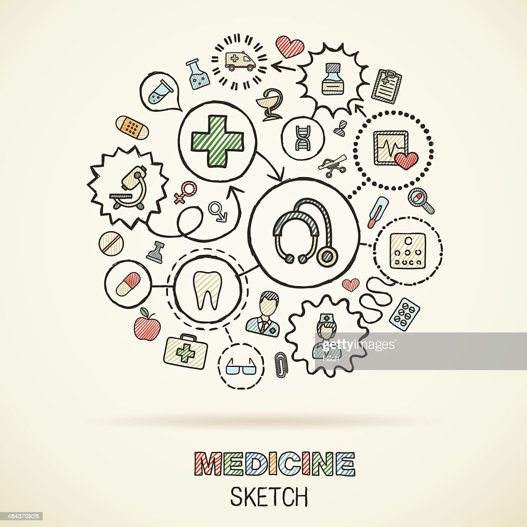 Medicine hand draw connected sketch icons. Vector doodle infographic illustration