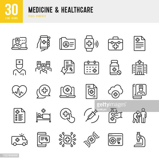 medicine & healthcare - thin line vector icon set. pixel perfect. the set contains icons: telemedicine, doctor, senior adult assistance, pill bottle, first aid, medical exam, medical insurance. - first aid stock illustrations