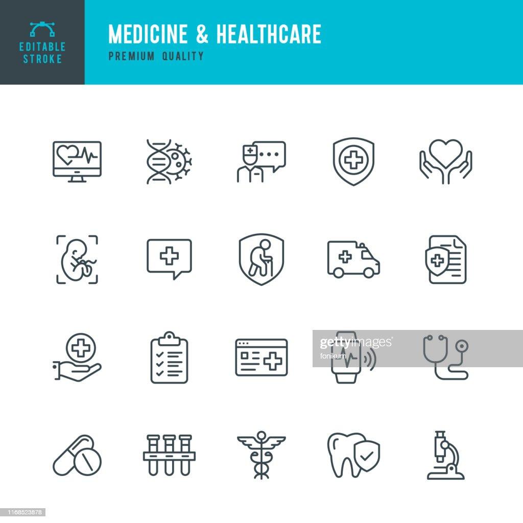 Medizin & Gesundheitswesen - Vektorliniensymbol gesetzt. Bearbeitbarer Strich. Perfekte Pixel. Medizin, Versicherung, Schwangerschaft, Krankenwagen, Caduceus, : Stock-Illustration
