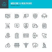 Medicine & Healthcare - vector line icon set. Editable Stroke. Perfect Pixels. Medicine, Insurance, Pregnancy, Ambulance car, Caduceus,