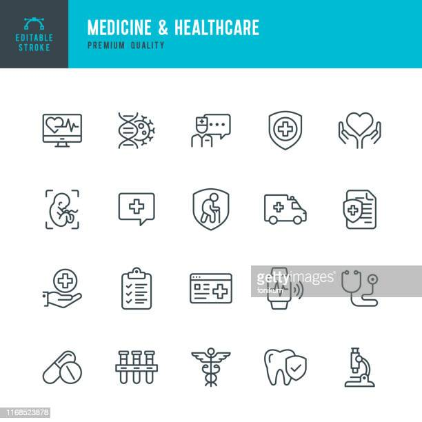 medicine & healthcare - vector line icon set. editable stroke. perfect pixels. medicine, insurance, pregnancy, ambulance car, caduceus, - medical exam stock illustrations