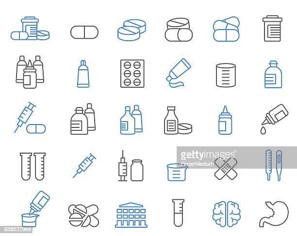 medicine icon set - nutritional supplement stock illustrations, clip art, cartoons, & icons