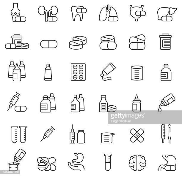 medicine icon set - antibiotic stock illustrations, clip art, cartoons, & icons