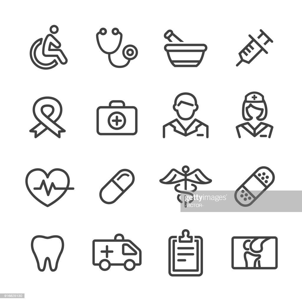 Ícones da medicina - linha série : Ilustração