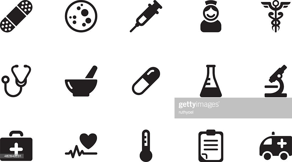 Medicine icons . Simple black : stock illustration