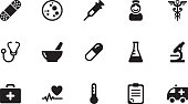 Medicine icons . Simple black