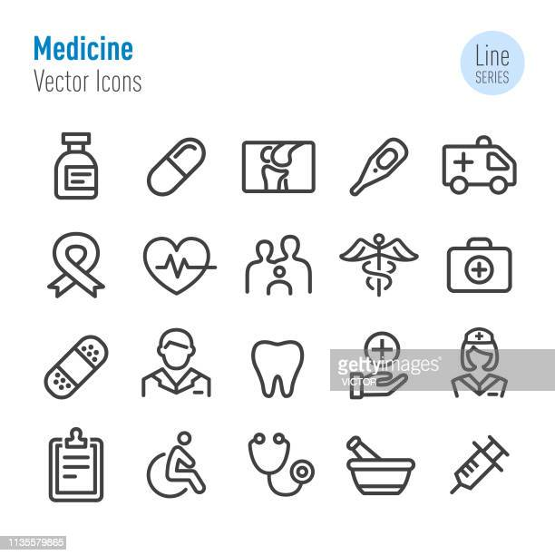medicine icons - vector line series - mortar and pestle stock illustrations, clip art, cartoons, & icons