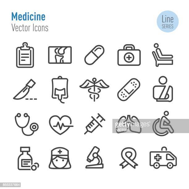 medicine icons - vector line series - medical symbol stock illustrations, clip art, cartoons, & icons