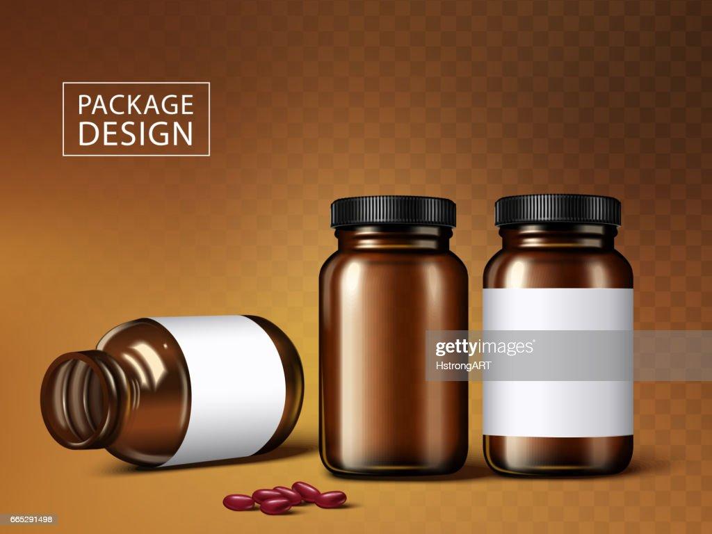 medicine jars and capsules