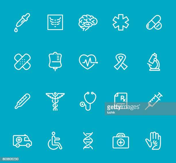 medicine - line icon set - pipette stock illustrations, clip art, cartoons, & icons