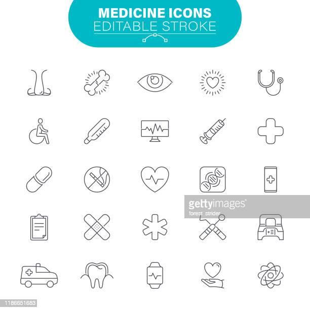 医学のラインアイコン - 出現点のイラスト素材/クリップアート素材/マンガ素材/アイコン素材