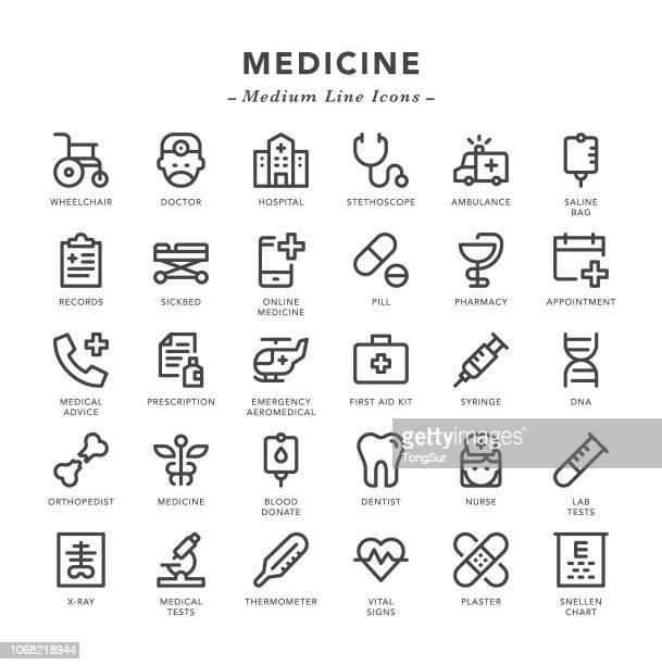 ilustraciones, imágenes clip art, dibujos animados e iconos de stock de medicina - los iconos de la línea media - estetoscopio