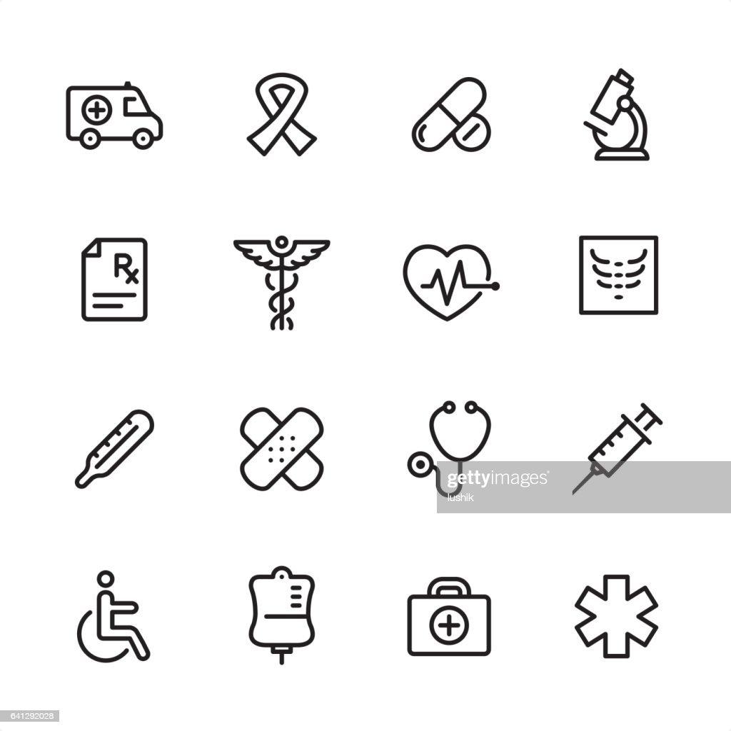 Medicine - outline icon set : Stock Illustration