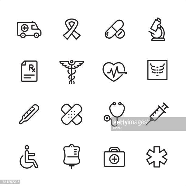 medicine - outline icon set - blood bag stock illustrations, clip art, cartoons, & icons