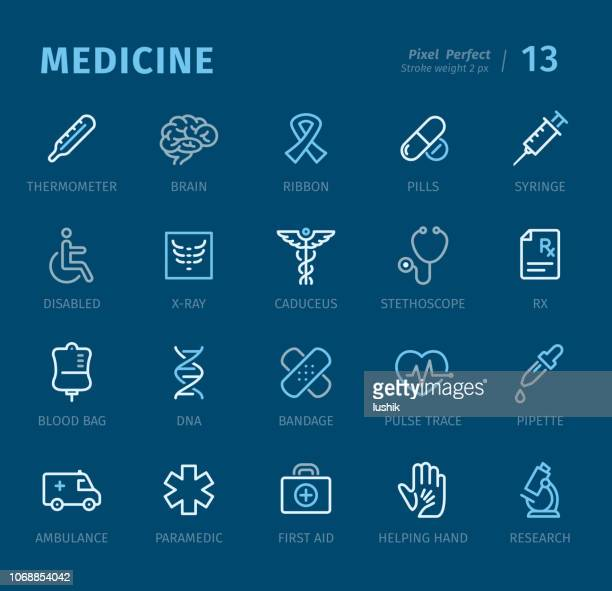 medicine - outline icons with captions - aids awareness ribbon stock illustrations