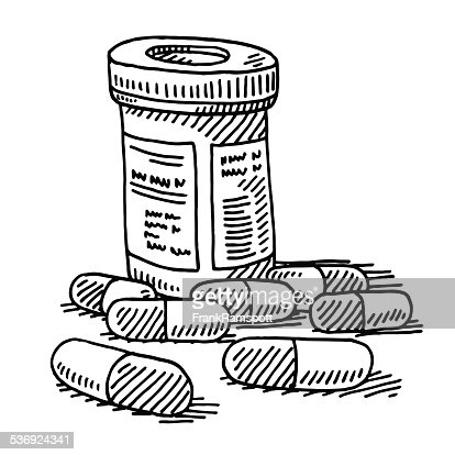 Medicine pill container drawing vector art getty images for How to draw a pill
