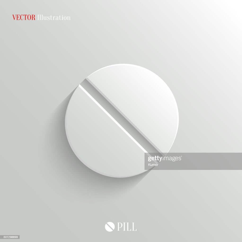 Medicine pill icon - vector white app button