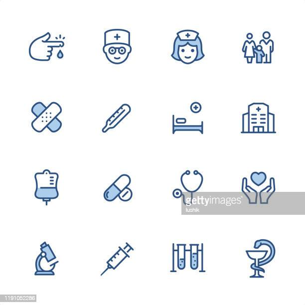 medicine - pixel perfect blue outline icons - conceptual symbol stock illustrations