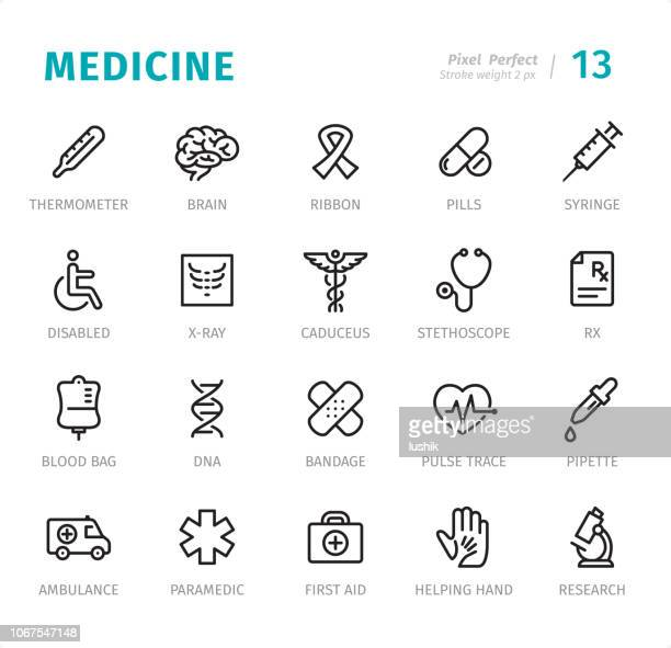 medicine - pixel perfect line icons with captions - aids awareness ribbon stock illustrations