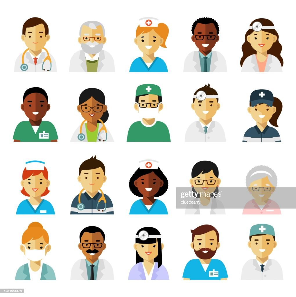 Medicine set with doctors and nurses avatars in flat style isolated on white background
