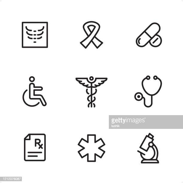 medicine - single line icons - medical symbol stock illustrations