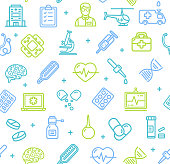 Medicine Symbols and Signs Pattern Background on a White. Vector