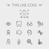 Medicine thin line icon set