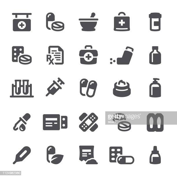 medicines icons - mortar and pestle stock illustrations, clip art, cartoons, & icons