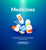 Medicines poster of isometric color design