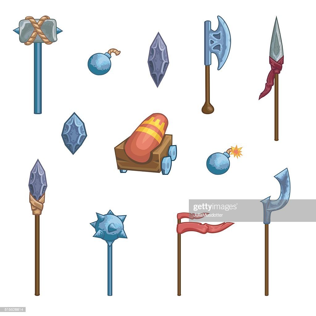 Medieval cartoon weapons. Game icons.