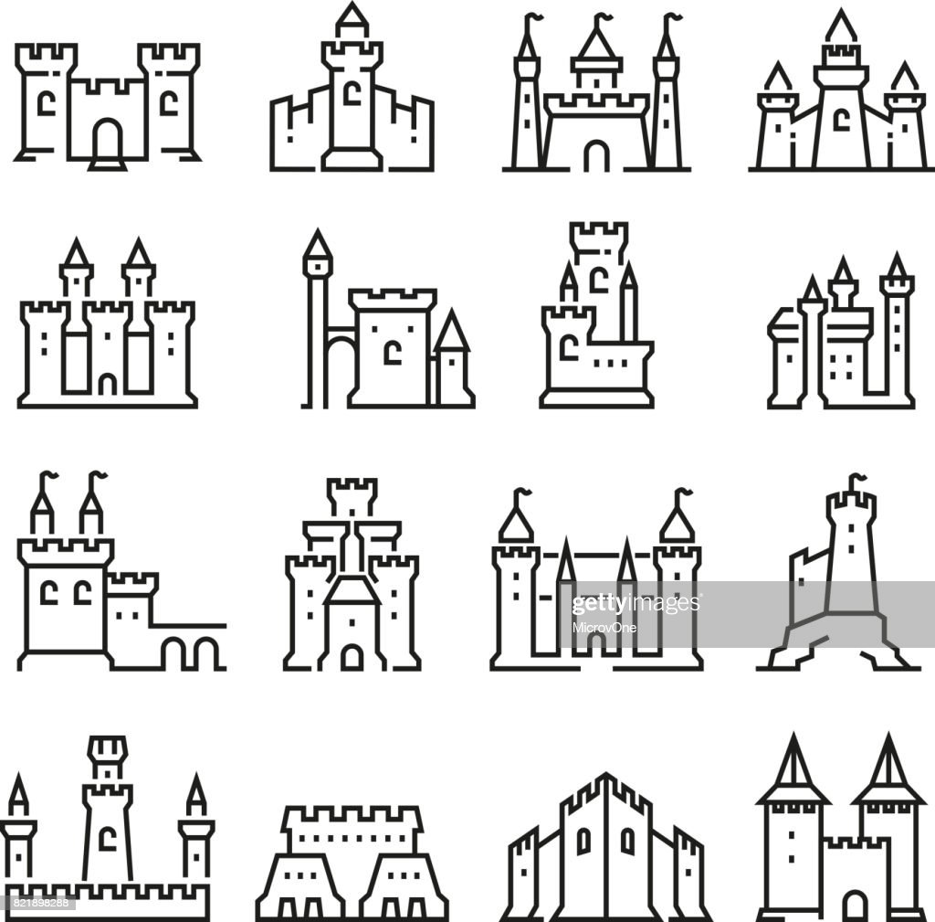 Medieval castle and ancient tower fortress line vector icons