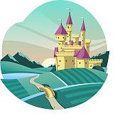 medieval castle cartoon illustration
