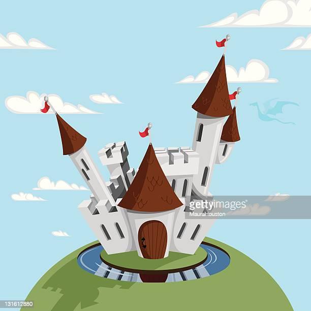 medieval castle cartoon - moat stock illustrations