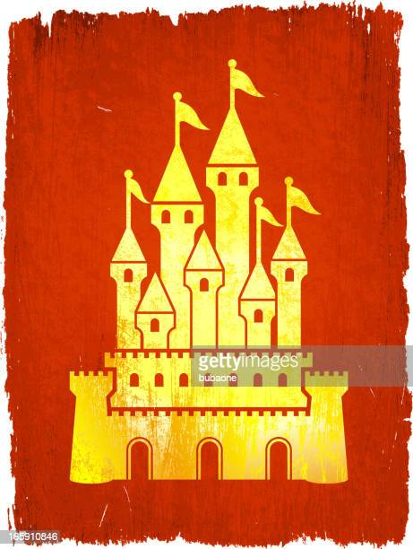 medieval castle on royalty free vector background - circa 15th century stock illustrations, clip art, cartoons, & icons