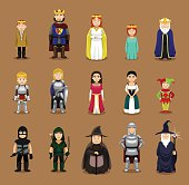 Medieval Characters Set Cartoon Vector Illustration