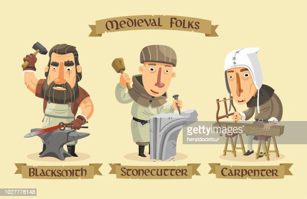 medieval characters set - metal industry stock illustrations