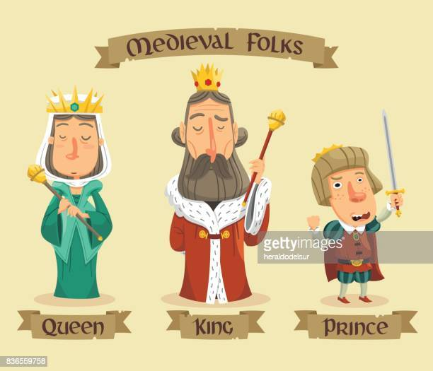 medieval characters set - medieval queen crown stock illustrations