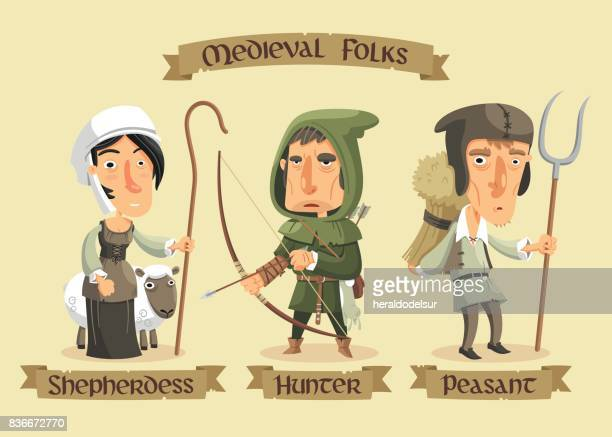 medieval characters set - en búsqueda stock illustrations