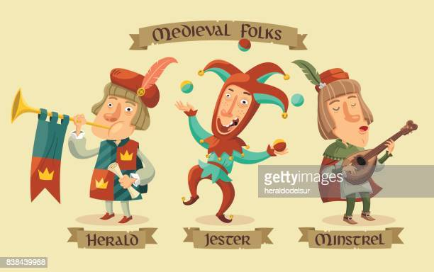 medieval characters set - jester stock illustrations, clip art, cartoons, & icons