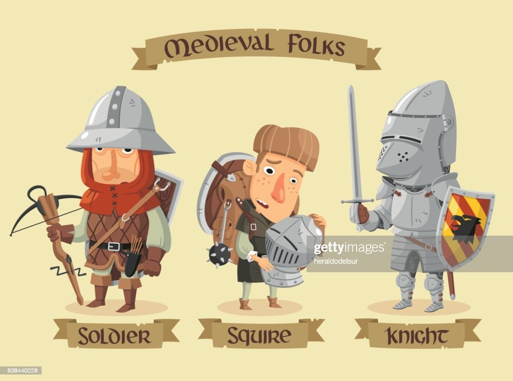 Medieval characters set : stock illustration