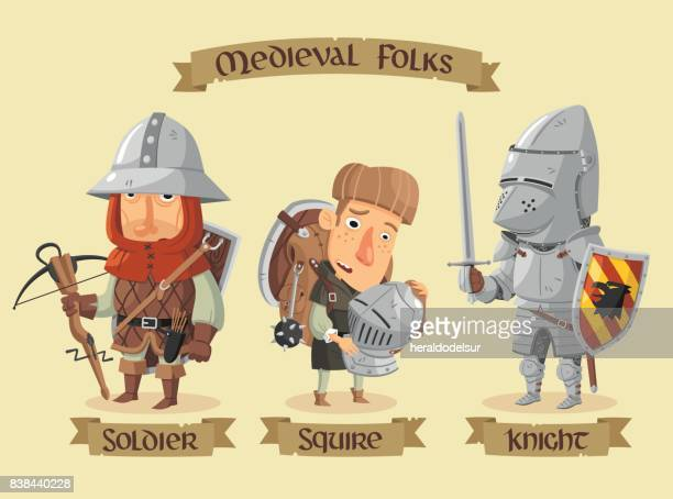 medieval characters set - army stock illustrations, clip art, cartoons, & icons