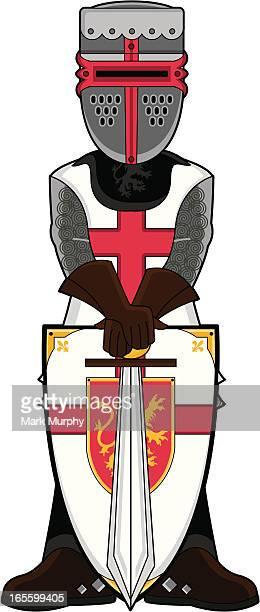 Medieval Crusader Knight in Helmet