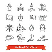 Medieval fairy tales. Thin line art icons set