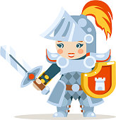 Medieval female knight woman warrior girl fantasy action RPG game layered animation ready character vector illustration