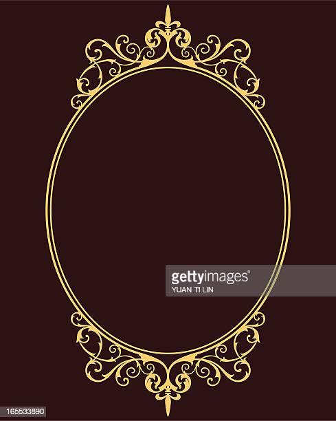 mittelalterliche frame - oval stock-grafiken, -clipart, -cartoons und -symbole