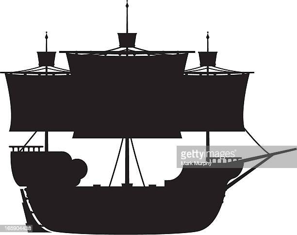 Medieval Galleon in Silhouette